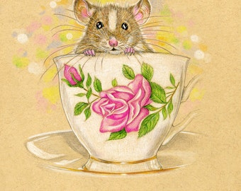 Mouse in a Tea Cup. Izzy. Giclée Art Print. Can be personalized.