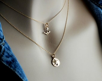 14k Gold Sand Dollar Necklace, 14k Gold Necklace, Minimalist Solid Gold Necklace, Delicate 14k Solid Gold Necklace, Ocean Minimalist Jewelry