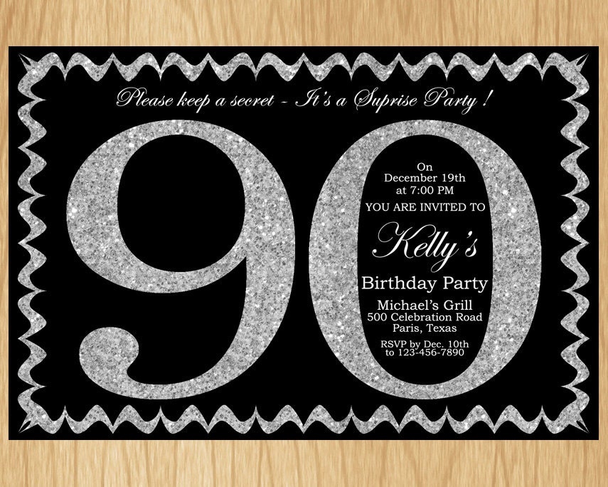 90th Birthday Invitation Silver Glitter Birthday Party Invite