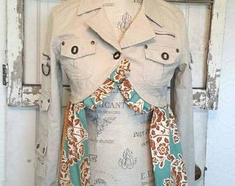 Upcycled Military-Inspired Jacket, Size Small Khaki Floral Re-Purposed Coat