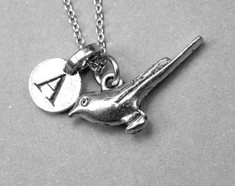 Bird necklace, swallow charm, sparrow, silver plated pewter, initial necklace, initial hand stamped, personalized, monogram