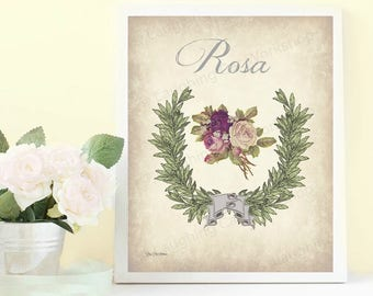 Rose Art Print Flower Bathroom decor French Bedroom Art Vintage Flower Cottage Chic French Flower Print Shabby Chic Rose decor Garden print