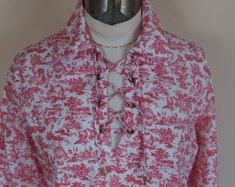 1970s Cotton Long Sleeve Blouse with Front Opening Lace Up Grommets Red Toile Print
