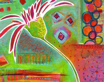Colorful Abstract Gerber Daisy Original Painting