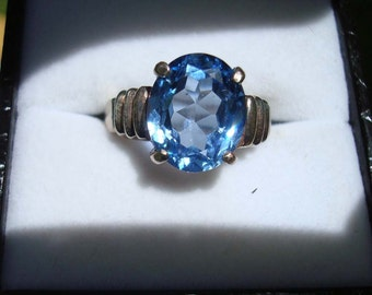Amazing Blue Topaz And Sterling Silver Ring