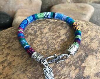Woven cord owl bracelet by bohemian earth designs