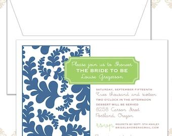 Modern Bridal Shower Invite, Garden Shower invite, Modern Leaves Shower Invitation, Woodland Shower Invite, Leaf pattern shower invite,