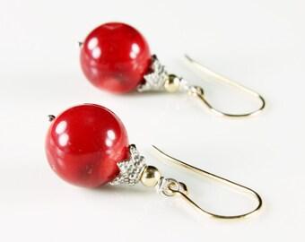 Red Bamboo Coral Earrings, Sterling Silver & Gold fill earrings, red gemstone earrings, dangle boho earrings, holiday gift for her, 2594