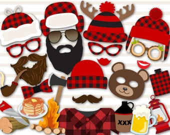 Digital lumberjack Photo Booth Props, Printable Camping Party PhotoBooth Props, Instant Download Lumberjill Photo Booth Props 0039