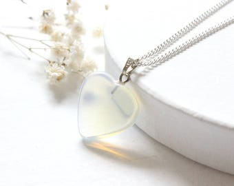 Opalite Heart Necklace, Opalite Necklace, Dainty Heart Necklace, Dainty Stone Necklace, Opalite Heart Pendant, Stone Dainty Silver Necklace