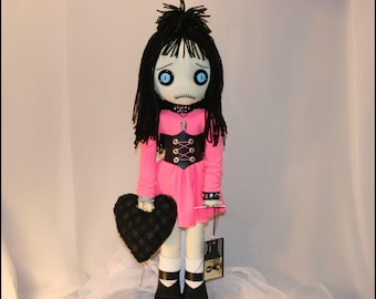 OOAK Hand Stitched Valentines Day Stitched Heart Rag Doll Creepy Gothic Folk Art By Jodi Cain Tattered Rags