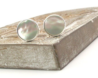 White Mother of Pearl Cufflinks, White Pearl Cufflinks, White Cufflinks 16mm Round