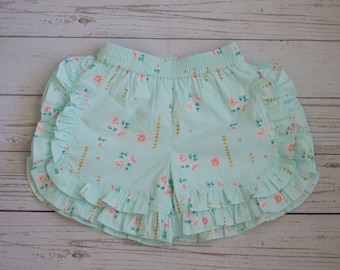 mint shorts-floral shorts-summer shorts-photo outfit-flutter dress-lace-circle back-open back dress-pink mint set-birthday-easter-sunday