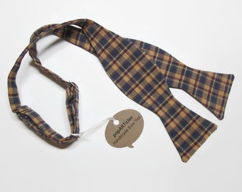 Freestyle Navy Plaid Bow Tie - Plaid Bow Tie - Tan Plaid Bow Tie - Blue and Tan Bow Tie - Self-Tie Bow Tie in Plaid Homespun Cotton