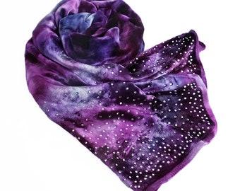 "Womens scarves, purple velvet scarf, jeweled velvet scarf, purple jeweled scarf, sparkly purple scarf,  sparkly scarf, purple velvet, 13""59"""