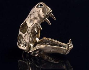 Inostrancevia Dinosaur Skull Pendant, brass, handmade ..... Dinosaur Skull Necklace