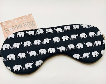 Cute Sleep mask / cute elephants travel sleep mask / black eye mask / night mask cute elephant fabric