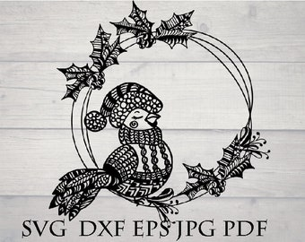 Christmas wreath zentangle svg file for cricut / zendoodle, zentangle Christmas, intricate svg file, cricut download svg, mandala wreath svg