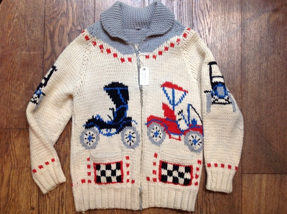 """Vintage 1960s 60s handknitted chunky wool cowichan sweater cardigan red white blue cars Model T racing 42"""" chest Lightning zipper hot rod"""