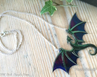Dragon Necklace, Purple Midnight, Acrylic & Acetate transparent iridescent purple dragon with 22cm silver plated chain