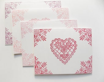 Love Notes - Heart Cards - Card Set - Card Pack - Stamped Cards - Thinking of You Cards - Snail Mail Cards - Pack of Cards - Love Notes