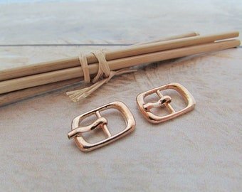 5 small belt buckle for strap max 8mm - rose gold plated metal - 1.7 x 1.2 cm - 21.52