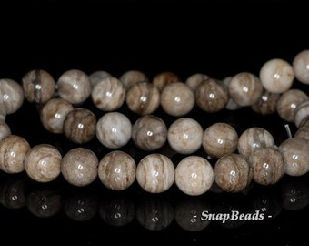 8mm Silver Leaf Jasper Gemstone Round Loose Beads 15.5 inch Full Strand (90143619-174)