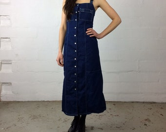 Tommy Hilfiger denim snap up ankle length tommy girl 90s over all dress small