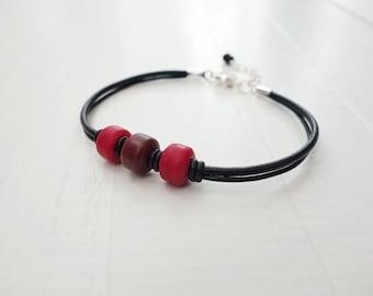 Black leather bracelet brown red beads leather cuff bracelet unisex bracelet for men for women