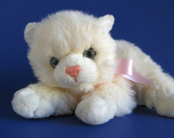Vintage Small White Kitty Cat Kimmy by Russ Berrie Kitten Blue Gray Eyes Soft Fluffy 1980s Toy Plush