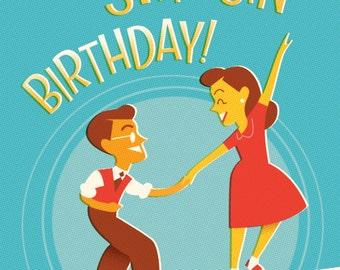 Retro blank Birthday card for Swing dance lovers