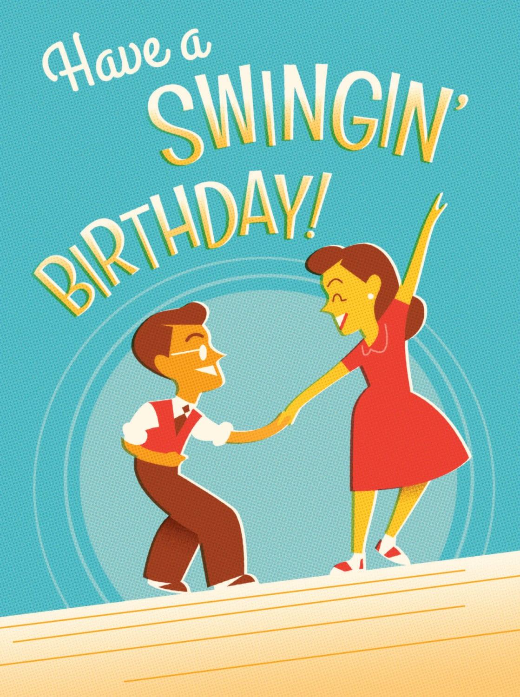 Retro blank birthday card for swing dance lovers kristyandbryce Gallery