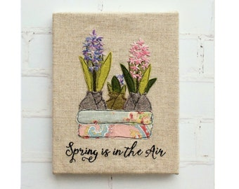 Spring is in the Air Applique and Hand Embroidery spring flowers pdf pattern instant download