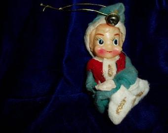 Old Knee Hugger Green Elf Christmas Ornament 60s Shelf Kneehugger Pixie