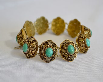 Vintage Chinese Gilt Silver and Turquoise Asian Characters and Filigree Bracelet