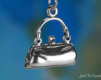 Sterling Silver Handbag Charm Woman's Purse Hand Bag 3D Solid .925