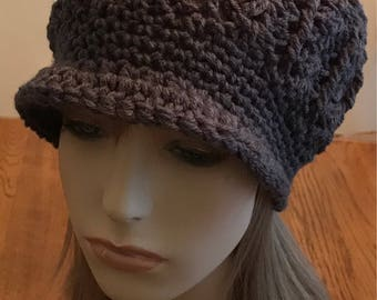 Charcoal Slouchy Newsboy Hat/Cap