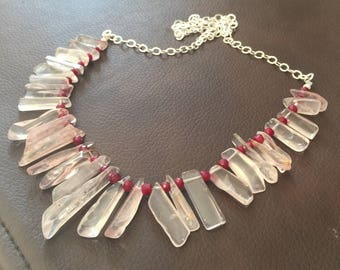 Rose Quartz Points and Ruby Necklace\\  Rose Quartz Bib Necklace \\  Statement necklace\\ Resort Wear \\ Beach Wear \\ Valentines gift
