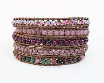 Purple stone wrap bracelet with crystal on soft brown polyester cord, purple, beaded wrap bracelet