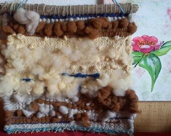 SEA wall; Tapestry, wool, driftwood,