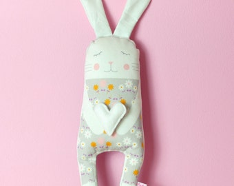 bunny cloth doll in white with felt heart