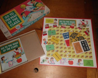 Vintage 1967 Milton Bradley Board Game Go To The Head of the Class Series 18 Four Quiz Books