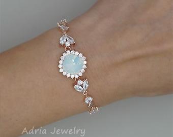 White Opal Bracelet, Opal Bridal Bracelet, Rose Gold Wedding Jewelry, White Opal Wedding Bracelet, Rose Gold Bridal Bracelet