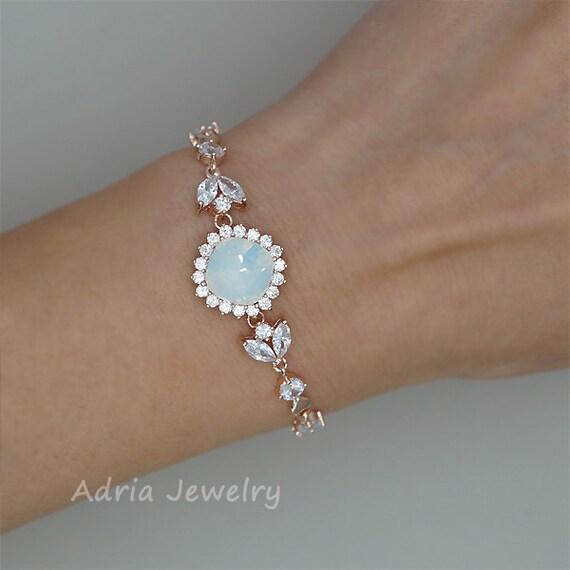 White Opal Bracelet Opal Bridal Bracelet Rose Gold Wedding