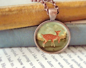 Deer Pendant, Deer Necklace, Deer Jewelry, Deer Animal Necklace, Animal Jewelry, Kids Jewelry Children, Baby Fawn, Deer Art - Baby Deer