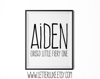Aiden Name Meaning Art - Printable Baby Shower Gift - Nursery Printable Art - Digital Print - Nursery Decor - Typography Wall Decor