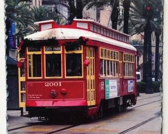 Red Street Car - Photograph Slate - Photograph Street Car - Slate Art - Gift - Slate Artwork - New Orleans Street Car - New Orleans Art