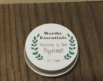 Moisturising Peppermint Lip Balm, Organic Beeswax Lip Balm (14 ML)