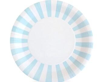 Light Blue Dinner Plates / Blue Party Plates / Blue Paper Plates / Light Blue Striped Party Plates / Baby Boy Shower Plates / Gender Reveal  sc 1 st  Etsy & Paper plates | Etsy