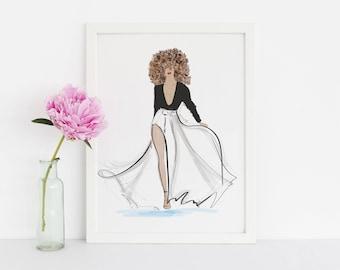 The Catwalk(Fashion Illustration Print) (Fashion Illustration Art - Fashion Sketch prints - Home Decor - Wall Decor )